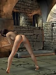 Nude toon babe in dark dungeon
