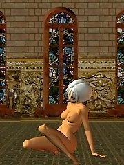 Nude 3d toon girl kiki at church