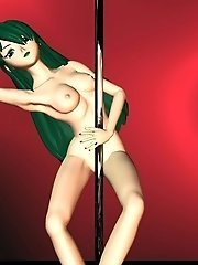 Anime girl on stripper pole