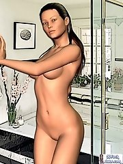 Nude toon babe in bathroom teasing