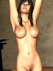 Realistic naked toon babe indoors