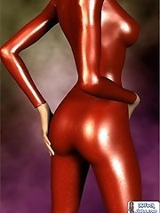 Kinky toon babe in latex bodysuit