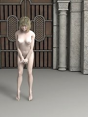 Nude toon girl outside castle doors