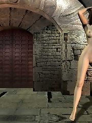 Nude 3D chick in a dark dungeon
