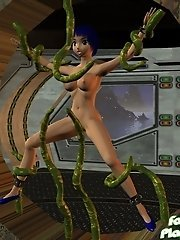 Toon girl fucked by space tentacles