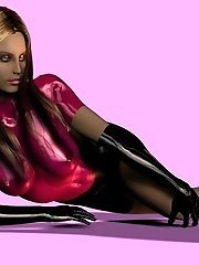 3D toon girl in tight latex