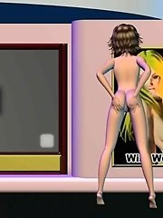 Slutty anime girl nude dancing